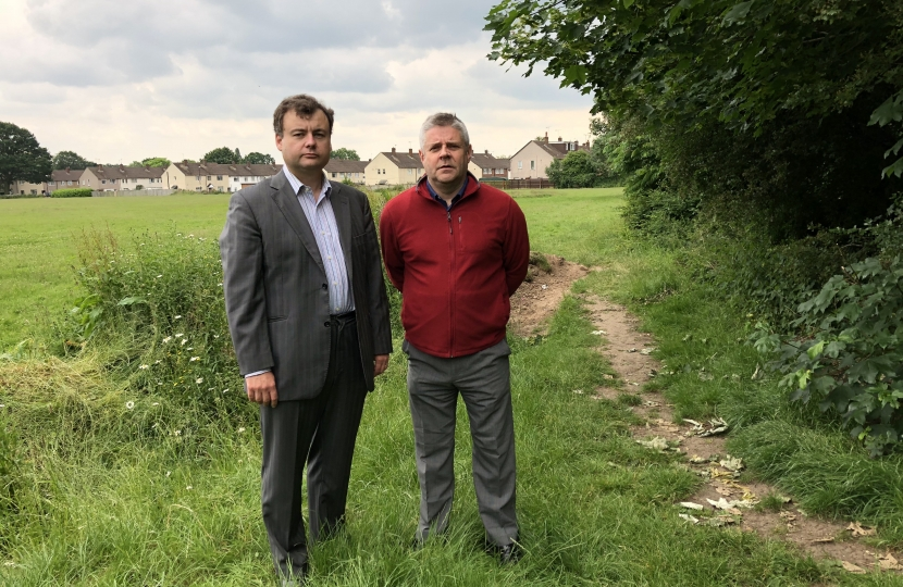Councillors Ridley and Male at the Ponderosa fields