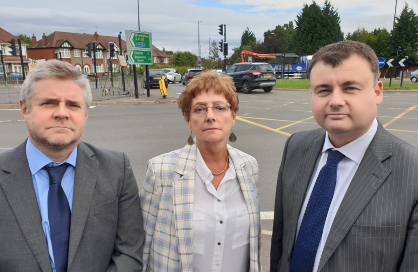 Councillors Peter Male, Julia Lepoidevin and Gary Ridley at Broad Lane