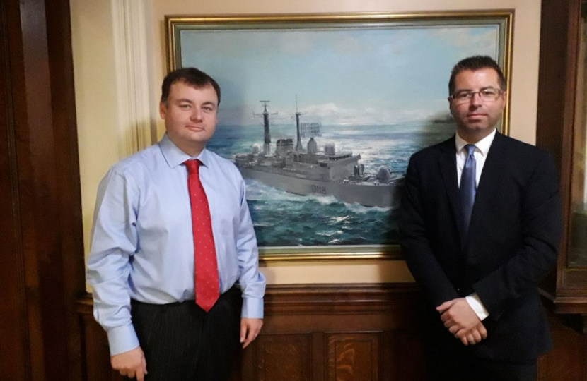 Cllrs Ridley and Andrews with a painting of HMS Coventry D118