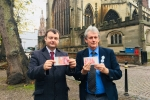 Councillors Ridley and Bailey near Holy Trinity Church in Coventry