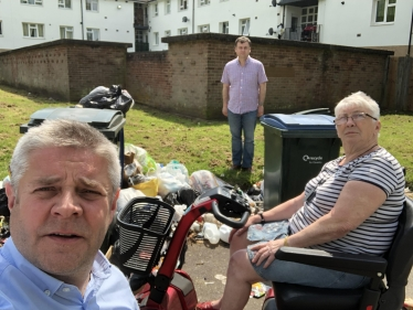 Cllrs Male and Ridley with residents at Gibbons Close